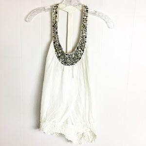 Bebe 100% Silk White Tank Top Size M Jewels